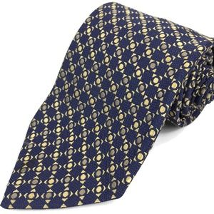 Charvet Place Vendome Silk Tie 57L 3.5W Blue Gold
